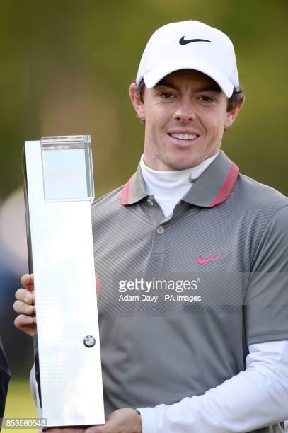 Ireland's Rory McIlroy celebrates winning the BMW PGA Championships at the Wentworth Club Surrey