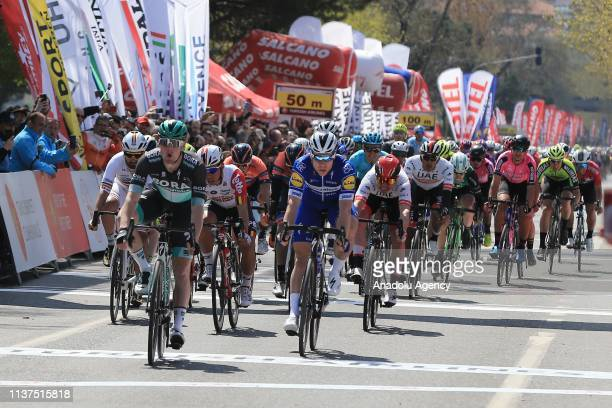 Ireland's Sam Bennett , riding for the Bora-Hansgrohe team, finishes first in the first stage of 156,7 km long Istanbul-Tekirdag route within the...