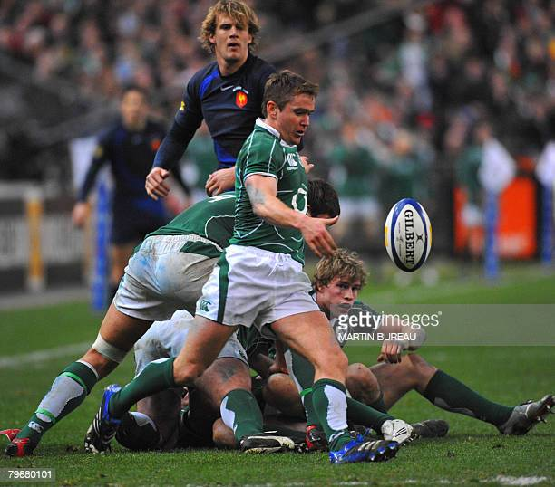 Ireland's scrum half Eoin Reddan clears the ball from a ruck during the Six Nations Rugby Union international game France vs Ireland February 9 2008...