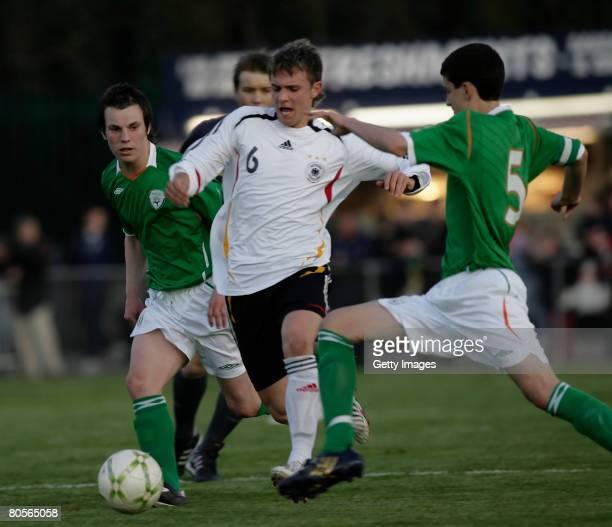 Ireland's Sean Skelly Anthony O'Connor and Germany's Sebastien Dreier during the U16 International friendly Ireland vs Germany at O'Shea Park on...