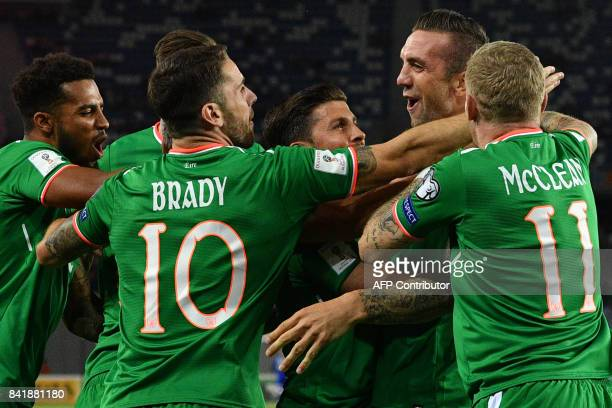 Ireland's Shane Duffy celebrates with his teammates scoring a goal during the 2018 FIFA World Cup group D qualifying football match between Georgia...