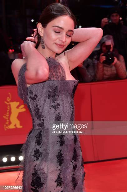 Ireland's shooting star Aisling Franciosi poses on the red carpet ahead of the screening for the film Vice at the 69th Berlinale film festival on...
