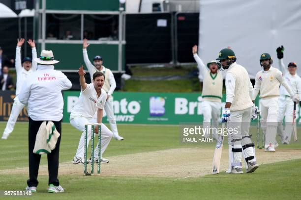 Ireland's Tim Murtagh appeals successfully for a leg before wicket decision against Pakistan's Shadab Khan during play on day three of Ireland's...