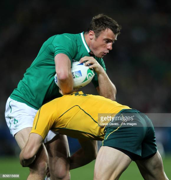 Ireland's Tommy Bowe gets tackled by Australia's Adam AshleyCooper