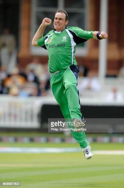Ireland's Trent Johnston celebrates the wicket of Sri Lanka's Kumar Sangakkara for 3 runs in the ICC World Twenty20 Super Eight match between Ireland...