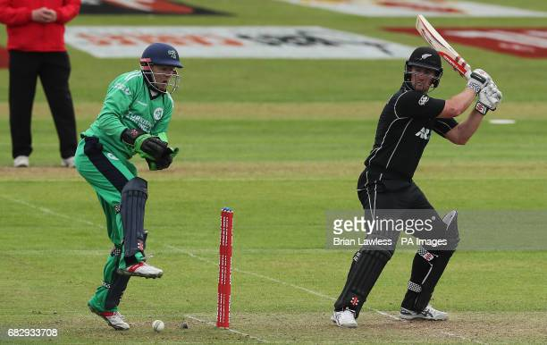 Ireland's wicket keeper Niall O'Brien reacts after the ball hit his foot from New Zealand's Neil Broom during the One Day International Tri Nations...