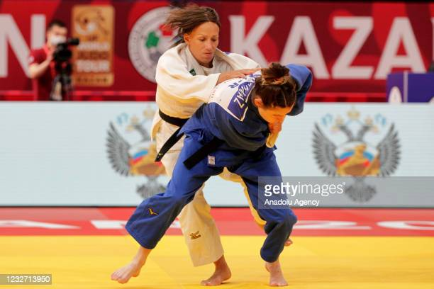 Irem Korkmaz of Turkey in action against Joana Ramos of Portugal in their bout of the women's - 52 kg category at the Kazan Grand Slam 2021 at the...