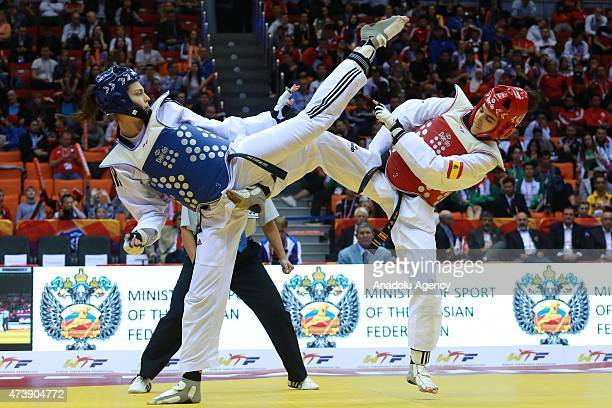 Irem Yaman of Turkey competes with Marta Calvo Gomez of Spain during the womens 62 kg final match within the WTF World Taekwondo Championships 2015...