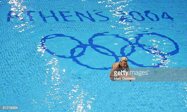 Irena Lashko of Australia competes in the women's diving 3 metre springboard preliminary event on August 25 2004 during the Athens 2004 Summer...