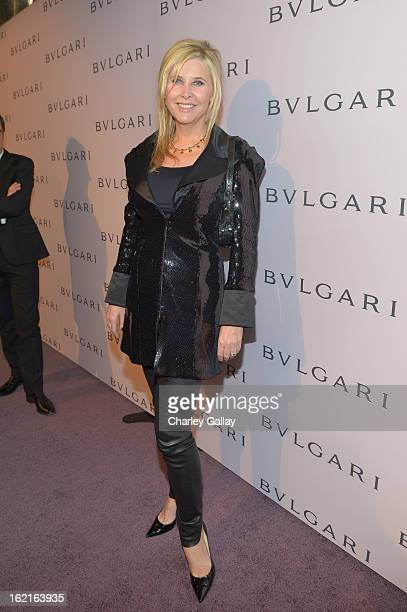 Irena Medavoy arrives at the BVLGARI celebration of Elizabeth Taylor's collection of BVLGARI jewelry at BVLGARI Beverly Hills on February 19 2013 in...