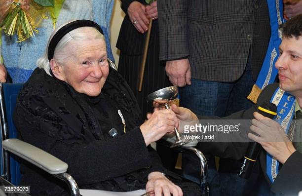 Irena Sendlerowa attends a reception at which Polish children presented her with the Order of Smiles at Bonifraters Monks nursing home on April 11...