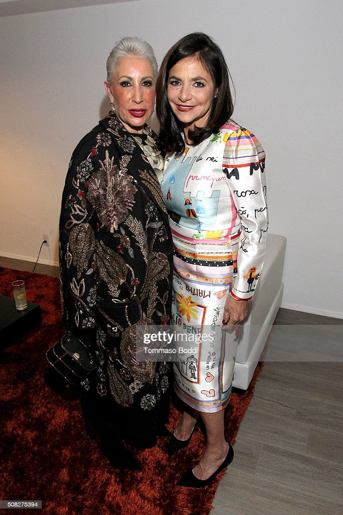 Irene Albright and guest attend the Albright Fashion Library LA Launch on February 3, 2016 in Beverly Hills, California.