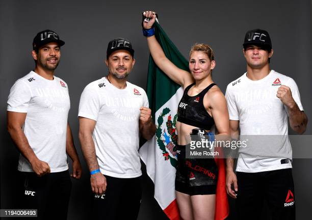 Irene Aldana of Mexico and team pose for a portrait during the UFC 245 event at TMobile Arena on December 14 2019 in Las Vegas Nevada