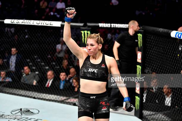 Irene Aldana of Mexico celebrates her victory over Ketlen Vieira of Brazil in their women's bantamweight bout during the UFC 245 event at TMobile...