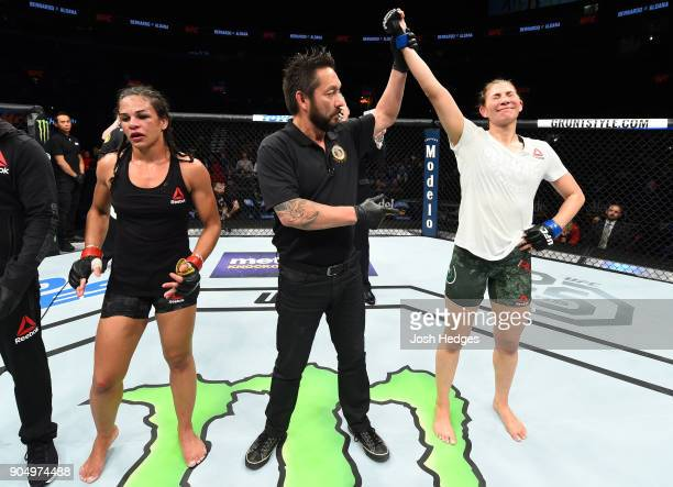 Irene Aldana of Mexico celebrates her victory over Talita Bernardo of Brazil in their women's bantamweight bout during the UFC Fight Night event...
