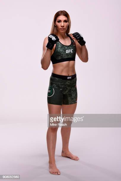Irene Aldana of Mexico poses for a portrait during a UFC photo session on January 11 2018 in St Louis Missouri