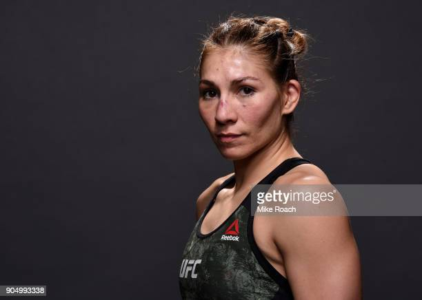 Irene Aldana of Mexico poses for a post fight portrait backstage during the UFC Fight Night event inside the Scottrade Center on January 14 2018 in...
