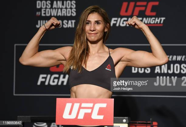 Irene Aldana of Mexico poses on the scale during the UFC Fight Night weighins at Sheraton Gunter Hotel San Antonio on July 19 2019 in San Antonio...
