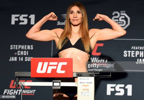 Irene Aldana of Mexico poses on the scale during the UFC Fight Night weighin on January 13 2018 in St Louis Missouri
