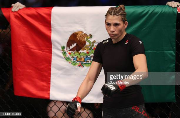 Irene Aldana of Mexico prepares to fight Bethe Correia of Brazil in their women's bantamweight bout during the UFC 237 event at Jeunesse Arena on May...