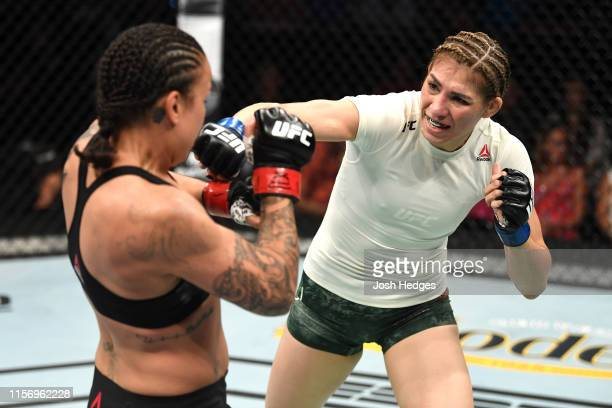 Irene Aldana of Mexico punches Raquel Pennington in their women's bantamweight bout during the UFC Fight Night event at ATT Center on July 20 2019 in...