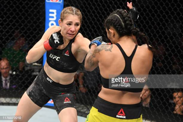 Irene Aldana of Mexico punches Vanessa Melo or Brazil in their women's bantamweight bout during the UFC Fight Night event on September 21 2019 in...