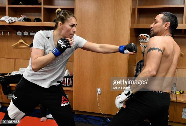 Irene Aldana of Mexico warms up backstage during the UFC Fight Night event inside the Scottrade Center on January 14 2018 in St Louis Missouri