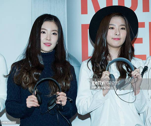 Irene and Seulgi of girl group Red Velvet pose for photographs at the launch event for new products of 'SHURE' on November 14 2014 in Seoul South...