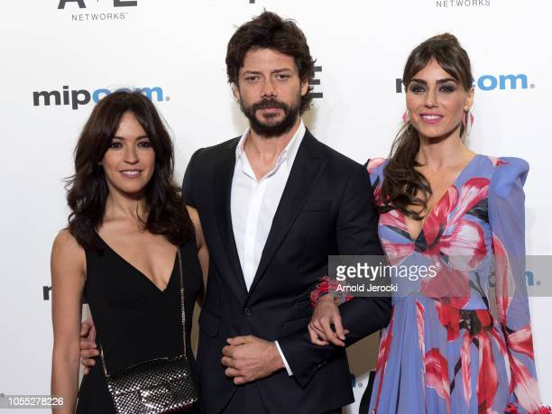 Irene Arcos Alvaro Morte and Veronica Sanchez attends the opening ceremony red carpet of the MIPCOM 2018 on October 15 2018 in Cannes France
