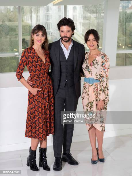 Irene Arcos Alvaro Morte and Veronica Sanchez attends the 'Pier' photocall as part of the MIPCOM 2018 on October 16 2018 in Cannes France