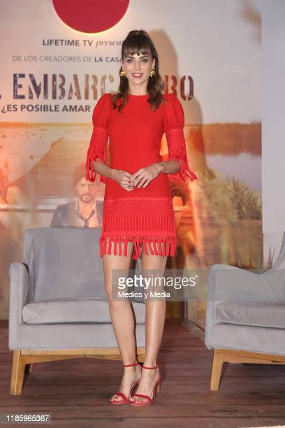 Irene Arcos poses for photos after the press conference of 'El Embarcadero' at Hotel St. Regis on November 6, 2019 in Mexico City, Mexico.