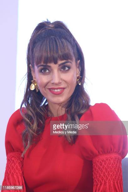 Irene Arcos smiles during the press conference of 'El Embarcadero' at Hotel St. Regis on November 6, 2019 in Mexico City, Mexico.