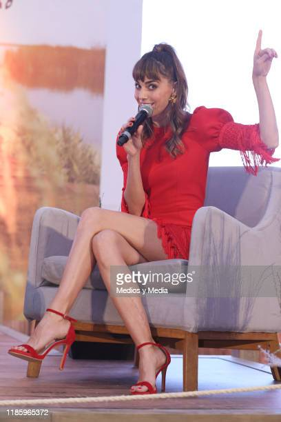 Irene Arcos speaks during the press conference of 'El Embarcadero' at Hotel St. Regis on November 6, 2019 in Mexico City, Mexico.