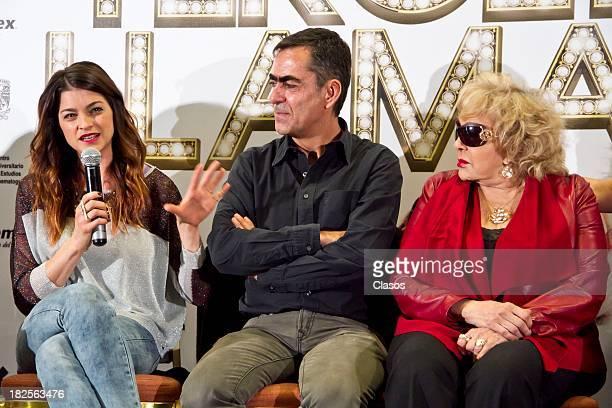 Irene Azuela Francisco Franco and Silvia Pinal speak during a press conference of te Mexican film Tercera Llamada at the Maria Isabel Sheraton Hotel...
