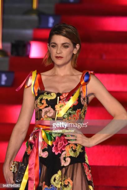 Irene Azuela poses prior the Dolce Gabbana Alta Moda and Alta Sartoria collections fashion show at Soumaya Museum on April 18 2018 in Mexico City...