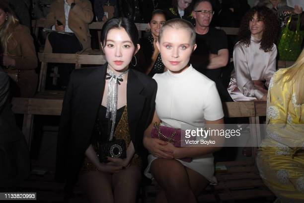 Irene Bae and Eliza Scanlen attend the Miu Miu show as part of the Paris Fashion Week Womenswear Fall/Winter 2019/2020 on March 05 2019 in Paris...