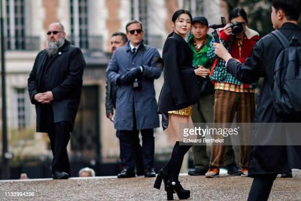 Irene Bae is seen outside Miu Miu during Paris Fashion Week Womenswear Fall/Winter 2019/2020 on March 05 2019 in Paris France