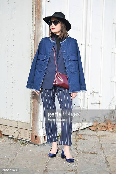 Irene Buffa poses wearing a Zara jacket before the Gucci show during the Milan Men's Fashion Week Fall/Winter 2016/17 on January 18 2016 in Milan...