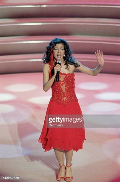 Irene Cara best known as a singer of movie themes performs her song What a Feeling from the movie Flashdance She won the award for Best Pop Vocal...