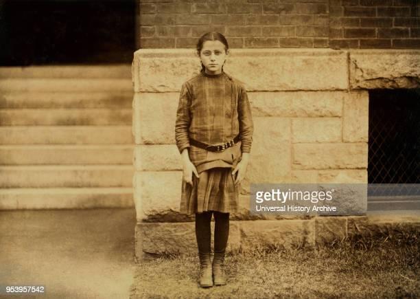 Irene Cohen 10yearold Newsgirl FullLength Portrait Providence Rhode Island USA Lewis Hine for National Child Labor Committee November 1912