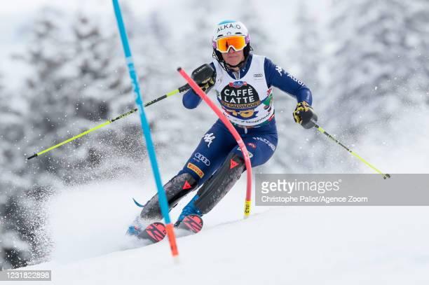 Irene Curtoni of Italy in action during the Audi FIS Alpine Ski World Cup Women's Slalom on March 20, 2021 in Lenzerheide, Switzerland.