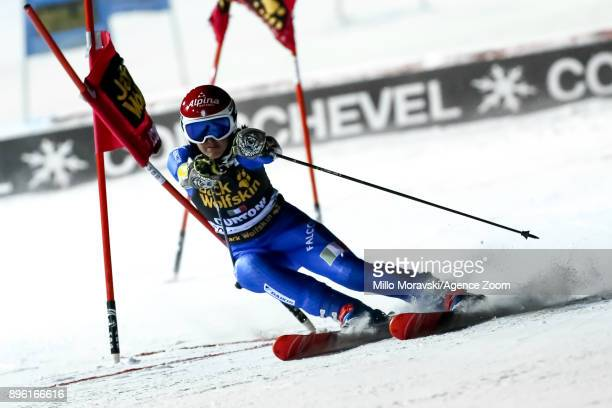 Irene Curtoni of Italy in action during the Audi FIS Alpine Ski World Cup Women's Parallel Slalom on December 20 2017 in Courchevel France