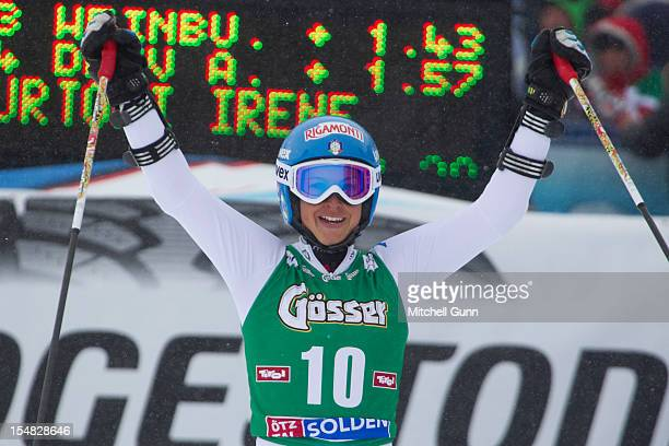 Irene Curtoni of Italy reacts in the finish area after competing in the women's Giant Slalom at the Audi FIS Alpine Ski World Cup on October 27 2012...