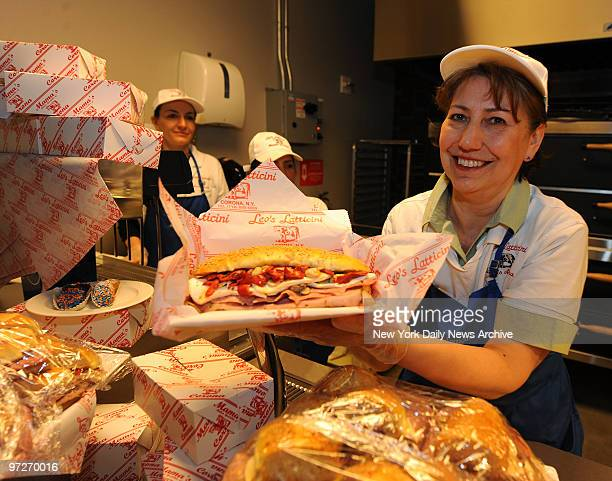 Irene DeBenedittis of Mama's of Corona holds a Mama's Special The Mets showed off their Culinary AllStars by showcasing and providing testtasting for...