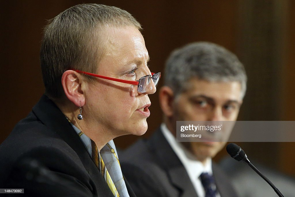 Irene Dorner, president and chief executive officer of HSBC North America Holdings Inc., left, and Stuart Levey, chief legal officer for HSBC Holdings Plc, testify at a hearing of the U.S. Senate Homeland Security and Governmental Affairs Committee's Permanent Subcommittee on Investigations in Washington, D.C., U.S., on Tuesday, July 17, 2012. HSBC Holdings PlcÖs head of group compliance, David Bagley, told the Senate panel he will step down amid charges the bank gave terrorists, drug cartels and criminals access to the U.S. financial system by failing to guard against money laundering. Photographer: Joshua Roberts/Bloomberg via Getty Images