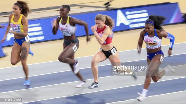 Irene Eklund of Sweden Lisa Marie Kwayie of Germany Ajla Del Ponte of Switzerland and Asha Philip of Great Britain compete in the semi finals of the...
