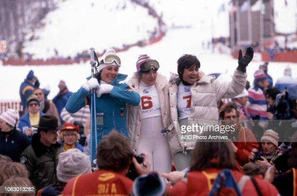 Irene Epple Hanni Wenzel Perrine Pelen competing in the Women's giant slalom event at the 1980 Winter Olympics / XIII Olympic Winter Games Whiteface...