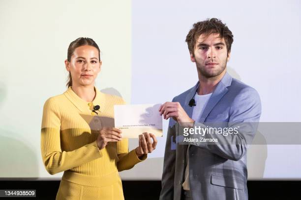 Irene Escolar and Ricardo Gomez holds the paper where appears the name of the film 'El buen patron', the candidate to Oscars 2002 at the Film Academy...