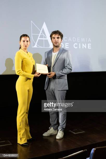 Irene Escolar and Ricardo Gomez holds the paper where appears the name of the film 'El buen patron', the Spanish film candidate to Oscars 2002 at the...
