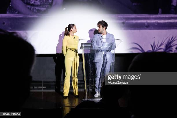 Irene Escolar and Ricardo Gomez perform a scene from the movie 'Esa pareja feliz' at the announcement of the Spanish film candidate to Oscars 2002 at...